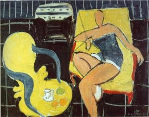 Dancer & Rocaille Armchair on Black Background, 1942, H. Matisse.