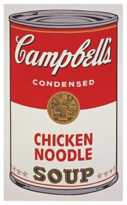 Andy Warhol, Campbell's Soup I, Chicken Noodle (1968) © 2015 The Andy Warhol Foundation for the Visual Arts, Inc. / Artists Rights Society (ARS), New York