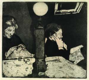 Under the Lamp, by Mary Cassatt.
