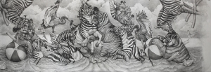 Adonna Khare, Pool Party, 6'x20' Graphite on Paper, 2015